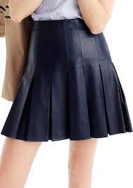 j crew collection drop pleat leather skirt
