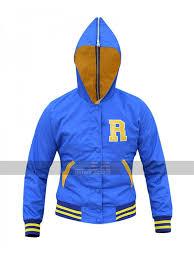 Womens Riverdale Cheer Leader Girls Varsity Blue Bomber Hooded Jacket
