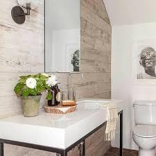 E Modern Cottage Powder Room With Plank Accent Wall