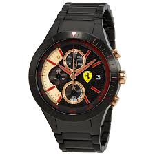 ferrari red rev evo black dial men s chronograph watch 830305