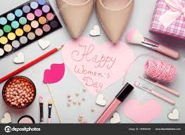 inscription happy women day high heeled shoes makeup cosmetics stock photo