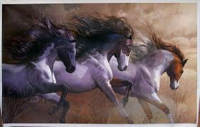 Three Wild Horses Galloping on the Prairie - <b>high quality hand</b> ...