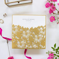 Elegant Invitation Cards Gold Floral Square Lace Wedding Invitations With Envelopes
