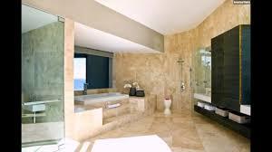 Großes Badezimmer Marmor Fliesen Sandfarbe Holzschränke Youtube