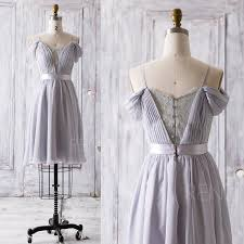 2016 Grey Bridesmaid Dress Short V Neck Lace Wedding Dress Off