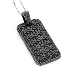 black diamond dog tag pendant 7 15ct sterling silver main image