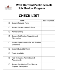 Fillable Online Whps Hall- Conard Job Shadowing Packet Student Forms ...