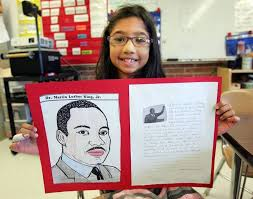 images suburban students remember martin luther king jr payal sutaria 7 of gurnee shows off her project on martin luther king jr