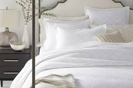 swedish farmhouse washed linen and cotton bedding and moon garden cutwork duvet cover and sham