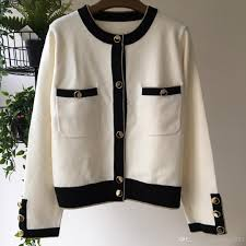 Designer Buttons For Clothing Milan Runway 2019 White Long Sleeves Cardigans Womens Designer Buttons Logo Sweaters Womens 2901092 Ladies Jackets Black Jacket From Michellayao123
