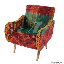 vintage upholstered chair.  Chair Upholstered Chair Kantha Fabric Vintage Inside H