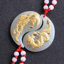natural gold and hetian jade pure solid 24k gold dragon phoenix lucky amulet pendant necklace certificate fine jewelry 8661 malaysia