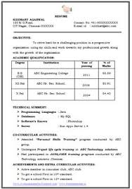Example Resume Of A B.e. Computer Science Engineer (Cse) With ...