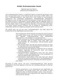 essay multistakeholder model essay multistakeholder model nathalia sautchuk patricio nathalia sautchuk gmail com the multistakeholder
