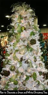 white christmas trees with green decorations - Google Search