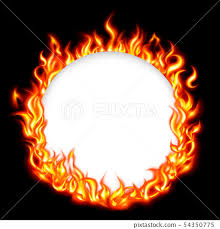 fire frame circle on black background