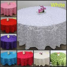 whole white 2 4 m wedding round table cloth overlays 3d rose flower tablecloths wedding decoration supplier linen round tablecloth tablecloth
