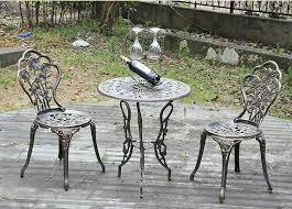 three piece patio furniture cast aluminum bistro set