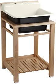Utility Sink Backsplash Mesmerizing Kohler K4848P48 Bayview Wood Stand Utility Sink With ThreeHole