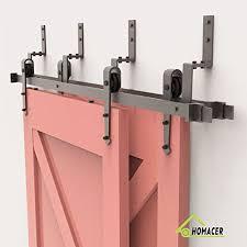 homacer sliding barn door hardware bypass double door kit 5ft flat track z shape bracket arrow design roller black rustic heavy duty interior exterior use