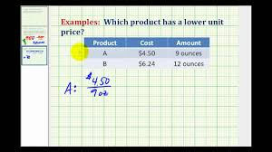 Example Of Unit Price Example Determine The Best Buy Using Unit Rate Youtube