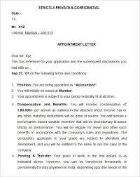 Appointment Letter Sample Under Fontanacountryinn Com