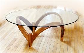 furniture round glass top curved wooden base modern contemporary