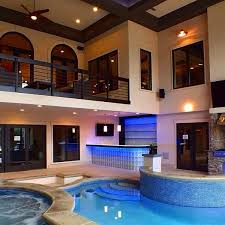 Unique Indoor Pool Bar Your Own And Jacuzzi Room Complete Intended Models Design