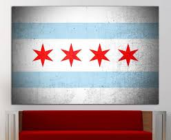 chicago flag wall art chicago flag wall decor chicago flag canvas chicago flag print decor office home decor