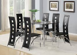 stylish black glass dining room table set and with 4 or 6 faux leather chrome dining room chairs prepare