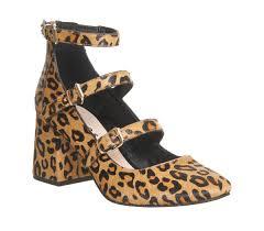 office leopard print. Office Flirt Three Strap Block Heels Leopard Cow Hair Effect - Mid Print O