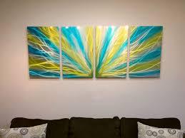 yellow blue green wall art
