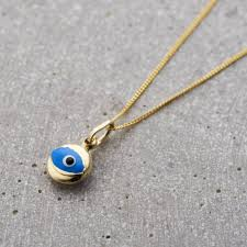 mini evil eye necklace in 9ct gold