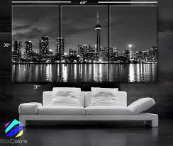 large 30 x 60 3 panels art canvas print beautiful toronto canada downtown city skyline black white wall home included framed 1 5 depth  on wall art canvas prints canada with large 30 x 60 3 panels art canvas print beautiful toronto canada