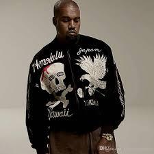 kanye west er jacket men skeleton skull popular hip hop ghost hawaii alpha wwii pilote veste eagle embroidery ma1 jaket coat las leather coats