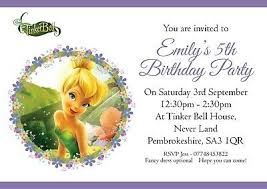 Tinkerbell Invitation 10 Personalised Birthday Party Invitations Tinkerbell