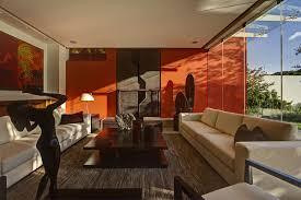 Casa S Zapopan Mexico Living Room Orange Wall Coffee Table