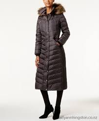 michael michael kors faux fur trim down maxi puffer coat women dfma740