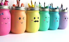 kawaii inspired diy mason jar pen marker and pencil holders