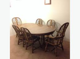 kling colonial solid oak dining table and six chairs
