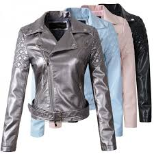 fashion pink sky blue women leather jacket er motorcycle leather jackets women 3 color brand leather coat s xl jaqueta courowomen s jackets coats