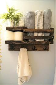 bath towel shelf bathroom wood rack hook rustic storage float hangers