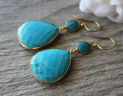 turquoise extra large blue turquoise double drop earrings genuine turquoise large blue stones