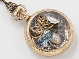 steampunk necklace antique 14k gold filled pocket watch case gears wheels blue aquamarine pendant silver ble bee necklace