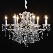 lovely shallow six arm silver leaf and glass crystal chandelier 64cm diameter
