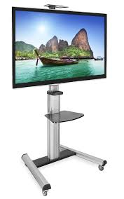 tv cart on wheels. Mount-It! Mobile TV Stand For Flat Screen Televisions, Adjustable Rolling Cart Screens 32 To 70 Inches, 110 Pound Capacity: Amazon.co.uk: Tv On Wheels S