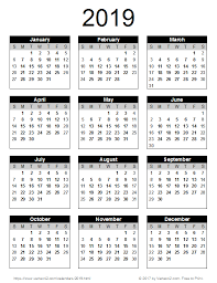 2019 Yearly Calendar Free Download
