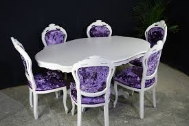 picture of french style dining table 6 chairs crushed velvet