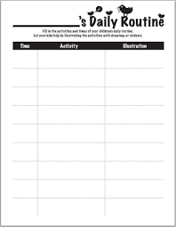 Daily Routine Chart Worksheets Printables Scholastic