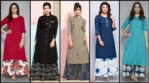Stylish Plazo Kurti Design Stylish And Trendy Plain Cotton Designer Long Tunic Casual Kurti Kurta With Plazo Design For Girls